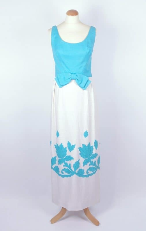 Blauwe Maxi Jurk.Late 60s White Blue Maxi Dress S M Bobby Pin Boutique