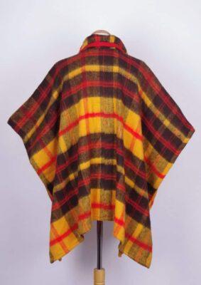 70s Red Orange Brown Poncho (USA) - Bobby Pin Boutique
