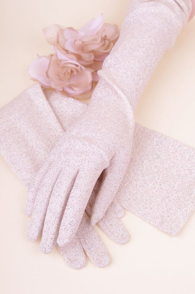 Long 60s Gold Lurex Gloves M (Never Used) - Bobby Pin Boutique